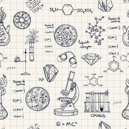 science background: Science and education seamless pattern. Hand drawn vintage laboratory icons sketches. Isolated Vector illustration. Science lab objects doodle style. Back to school. Illustration