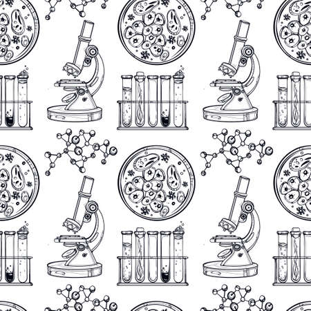 chemistry formula: Science and education seamless pattern. Hand drawn vintage laboratory icons sketches. Isolated Vector illustration. Science lab objects doodle style. Back to school. Illustration