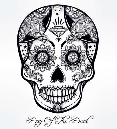 all saints day: Hand drawn Day of the Dead holiday - Dia de los Muertos in Spanish - sugar skull.  Vintage style Hispanic folk spiritual art. All Saints Holiday mascot. Isolated vector illustration. Illustration
