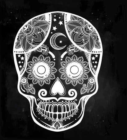 azucar: Dibujado a mano Día de las vacaciones muertos - Dia de los Muertos en español - cráneo del azúcar. Vintage estilo popular hispana arte espiritual. Todos los Santos de la mascota de vacaciones. Ilustración vectorial aislado.