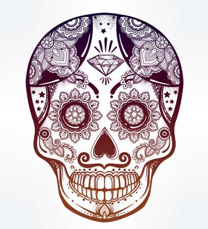 sugar skull: Hand drawn Day of the Dead holiday - Dia de los Muertos in Spanish - sugar skull.  Vintage style Hispanic folk spiritual art. All Saints Holiday mascot. Isolated vector illustration. Illustration