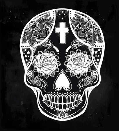 skull and cross bones: Hand drawn Day of the Dead holiday - Dia de los Muertos in Spanish - sugar skull.  Vintage style Hispanic folk spiritual art. All Saints Holiday mascot. Isolated vector illustration. Illustration