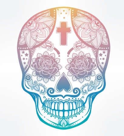scull: Hand drawn Day of the Dead holiday - Dia de los Muertos in Spanish - sugar skull.  Vintage style Hispanic folk spiritual art. All Saints Holiday mascot. Isolated vector illustration. Illustration