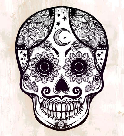 diamond texture: Hand drawn Day of the Dead holiday - Dia de los Muertos in Spanish - sugar skull.  Vintage style Hispanic folk spiritual art. All Saints Holiday mascot. Isolated vector illustration. Illustration