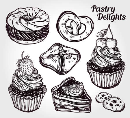 white bread: Bakery and pastry icons set in vintage style. Hand drawn confections sweet pastry products.  Isolated vector illustration. Highly detailed elements. Excellent template for creating your menu design. Illustration