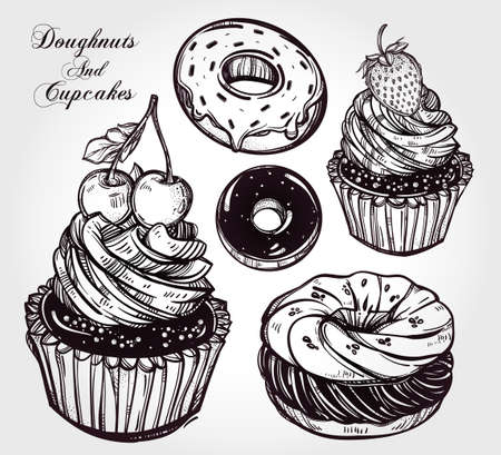 custard: Bakery and dessert pastry icons set.  Hand drawn sketch confections: donuts doughnuts and cupcakes. Isolated vector illustration. Excellent for creating your own menu design. Illustration