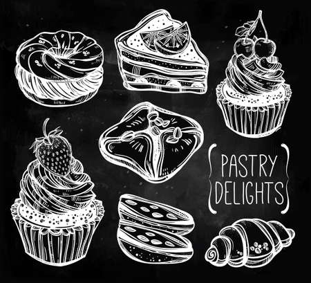 chocolate cookie: Bakery and pastry icons set in vintage style. Hand drawn confections sweet pastry products.  Isolated vector illustration. Highly detailed elements. Excellent template for creating your menu design. Illustration