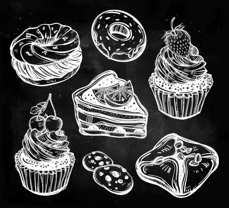 pie: Bakery and pastry icons set in vintage style. Hand drawn confections sweet pastry products.  Isolated vector illustration. Highly detailed elements. Excellent template for creating your menu design. Illustration