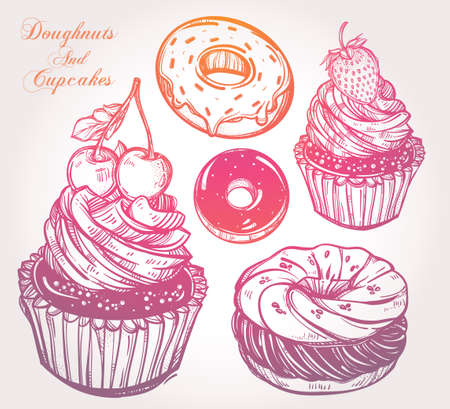 postres: Panadería y pastelería postre iconos conjunto. Dibujado a mano confecciones croquis: donas donas y pasteles. Ilustración vectorial aislado. Excelente para crear su propio diseño del menú.