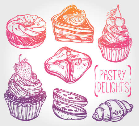 confections: Bakery and pastry icons set in vintage style. Hand drawn confections sweet pastry products.  Isolated vector illustration. Highly detailed elements. Excellent template for creating your menu design. Illustration