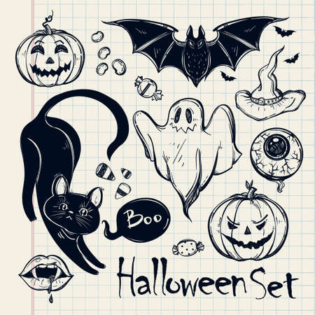 fruit bat: Set of different Halloween characters, animals and objects. Hand drawn holiday symbols. Isolated vector illustration Illustration