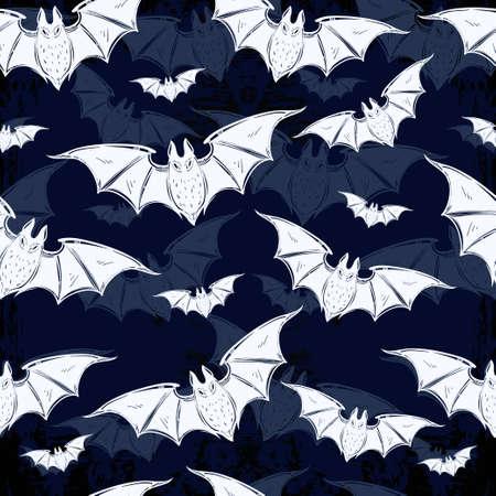 halloween pattern: Seamless Halloween pattern. Halloween bats. Hand drawn holiday symbols. Isolated vector illustration.