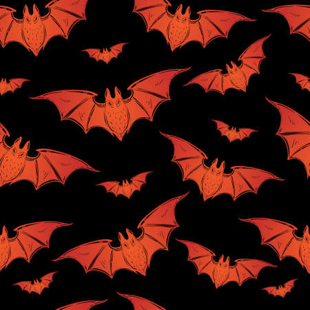background tile: Seamless Halloween pattern. Halloween bats. Hand drawn holiday symbols. Isolated vector illustration.
