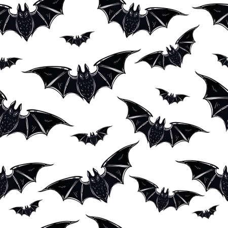 bate: Patrón de Halloween sin fisuras. Murciélagos de Halloween. Dibujado a mano símbolos de vacaciones. Ilustración vectorial aislado.