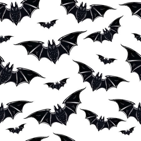 Seamless Halloween pattern. Halloween bats. Hand drawn holiday symbols. Isolated vector illustration.