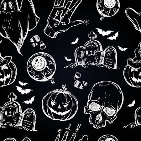 halloween pattern: Seamless Halloween pattern. Different Halloween characters, animals and objects. Hand drawn holiday symbols. Isolated vector illustration.