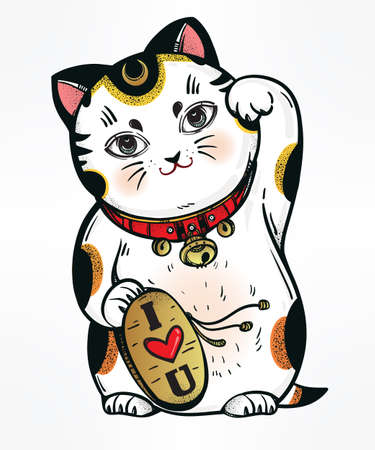 welcoming: Lucky cat - Maneki Neko. Traditional Asian fortune symbol, welcoming, happiness and best wishes cat. Carries a plate saying - Love You - vector hand drawn illustration.