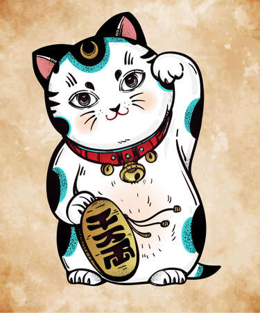 welcoming: Lucky cat - Maneki Neko. Traditional Asian money and business fortune symbol, welcoming, happiness and best wishes cat. Vector hand drawn illustration.