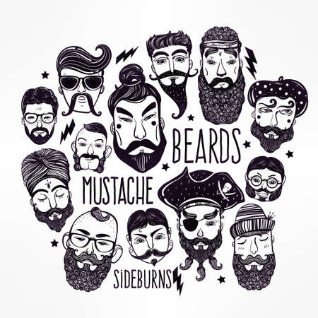sideburns: Hand drawn set of men from different nations and professions with stylish facial hair: beard, mustache, sideburns.