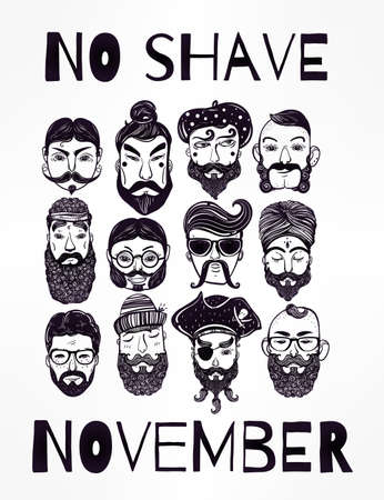 november: No Shave November - holiday charity action set or poster. Hand drawn men from different nations and professions with fun facial hair: beard, mustache, sideburns. Isolated vector collection