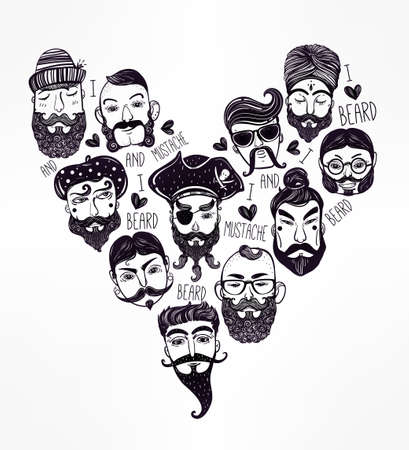 nations: Hand drawn set of men from different nations and professions with stylish facial hair: I love beards and mustache. Trendy indie heart shaped print, inspirational poster. Isolated vector collection. Illustration