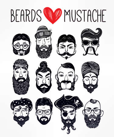 Hand drawn set of men from different nations and professions with stylish facial hair: beard, mustache, sideburns. Trendy indie style greeting card, inspirational poster. Isolated vector collection.