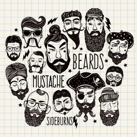 old hand: Hand drawn set of men from different nations and professions with stylish facial hair: beard, mustache, sideburns. Trendy indie style greeting card, inspirational poster. Isolated vector collection.
