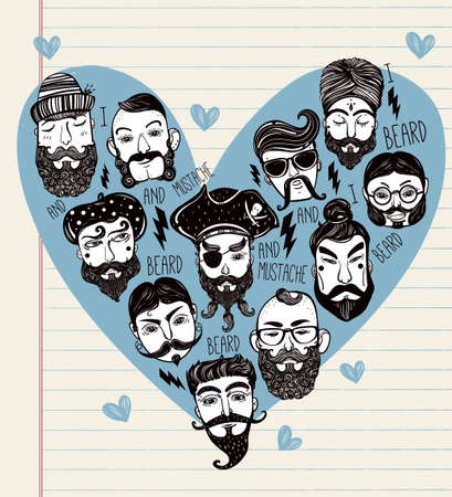 stylish hair: Hand drawn set of men from different nations and professions with stylish facial hair: I love beards and mustache. Trendy indie heart shaped print, inspirational poster. Isolated vector collection. Illustration