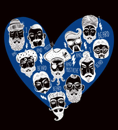 beard man: Hand drawn set of men from different nations and professions with stylish facial hair: I love beards and mustache. Trendy indie heart shaped print, inspirational poster. Isolated vector collection. Illustration