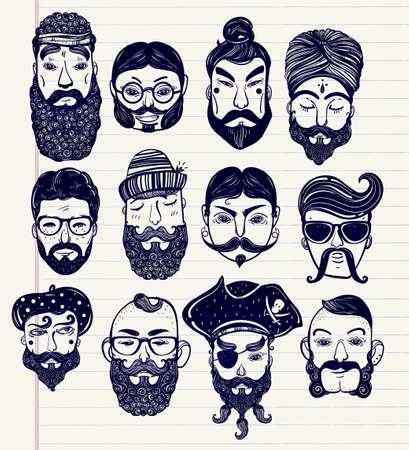 hombre con sombrero: Conjunto drenado mano de los hombres de diferentes naciones y profesiones con vello facial de estilo: barba, bigote, patillas. Tarjeta de felicitación de estilo indie de moda, cartel inspirado. Vector colección aislado. Vectores