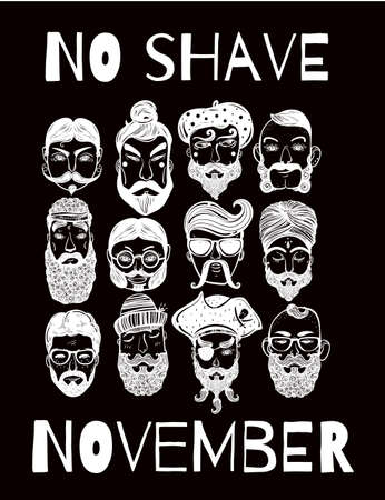 nations: No Shave November - holiday charity action set or poster. Hand drawn men from different nations and professions with fun facial hair: beard, mustache, sideburns. Isolated vector collection