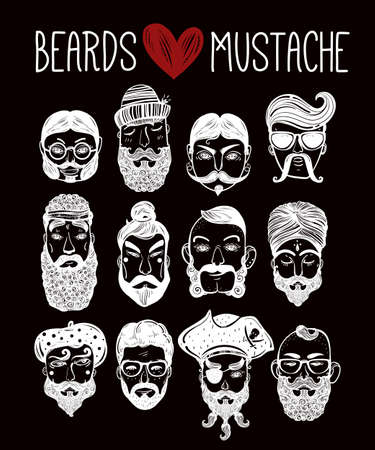 indie: Hand drawn set of men from different nations and professions with stylish facial hair: beard, mustache, sideburns. Trendy indie style greeting card, inspirational poster. Isolated vector collection.