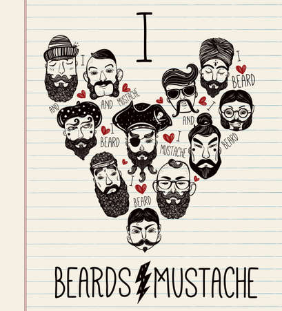 indie: Hand drawn set of men from different nations and professions with stylish facial hair: I love beards and mustache. Trendy indie heart shaped print, inspirational poster. Isolated vector collection. Illustration