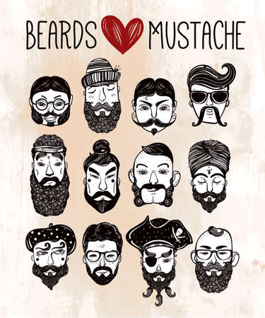 sideburns: Hand drawn set of men from different nations and professions with stylish facial hair: beard, mustache, sideburns. Trendy indie style greeting card, inspirational poster. Isolated vector collection.