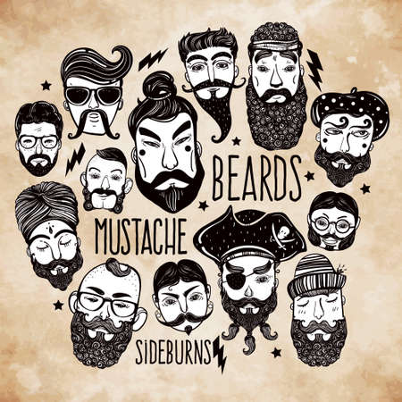 mustache: Hand drawn set of men from different nations and professions with stylish facial hair: beard, mustache, sideburns. Trendy indie style greeting card, inspirational poster. Isolated vector collection.