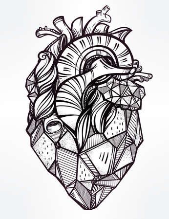 anatomia: Corazón de piedra, muy detallado estilo vintage mano dibuja la línea de arte. Plantilla de tatuaje hermoso. Ilustración vectorial aislado, elemento de diseño.