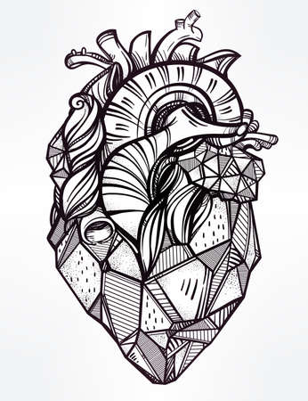 lover boy: Heart of stone, highly detailed vintage style hand drawn line art. Beautiful tattoo template. Isolated vector illustration, design element.
