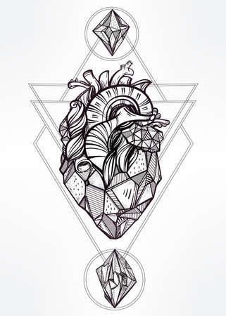 alquimia: Corazón de piedra con las lunas y las gemas. Diseño arte del tatuaje. Ilustración vectorial aislado. Elemento de estilo vintage de moda. Oscuro romance, la filosofía, la espiritualidad, el ocultismo, la alquimia, la magia, el amor.