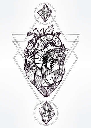 occultism: Heart of stone with moons and gems. Design tattoo art. Isolated vector illustration. Trendy Vintage style element. Dark romance, philosophy, spirituality, occultism, alchemy, magic, love. Illustration