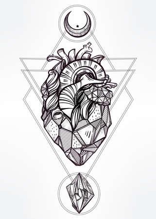 ocultismo: Coraz�n de piedra con las lunas y las gemas. Dise�o arte del tatuaje. Ilustraci�n vectorial aislado. Elemento de estilo vintage de moda. Oscuro romance, la filosof�a, la espiritualidad, el ocultismo, la alquimia, la magia, el amor.