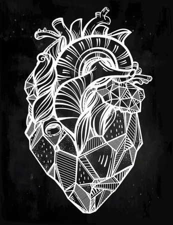 anatomy art: Heart of stone, highly detailed vintage style hand drawn line art. Beautiful tattoo template. Isolated vector illustration, design element.