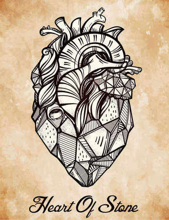 heart of stone: Heart of stone, highly detailed vintage style hand drawn line art. Beautiful tattoo template. Isolated vector illustration, design element.