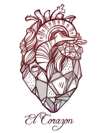 corazon: Heart of stone, highly detailed vintage style hand drawn line art. Beautiful tattoo template. Isolated vector illustration, design element.  El Corazon in Spanish means heart.