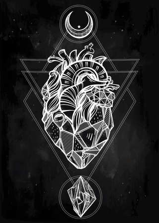 heart of stone: Heart of stone with moons and gems. Design tattoo art. Isolated vector illustration. Trendy Vintage style element. Dark romance, philosophy, spirituality, occultism, alchemy, magic, love. Illustration