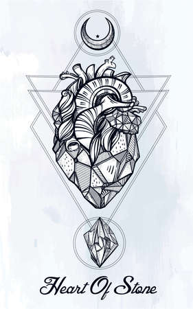 ocultismo: Heart of stone with moons and gems. Design tattoo art. Isolated vector illustration. Trendy Vintage style element. Dark romance, philosophy, spirituality, occultism, alchemy, magic, love. Vectores