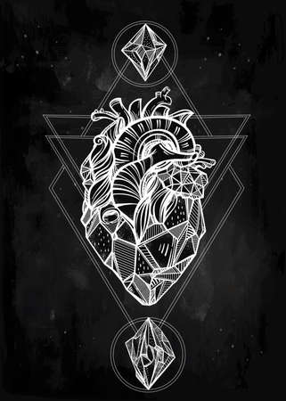 sacred heart: Heart of stone with moons and gems. Design tattoo art. Isolated vector illustration. Trendy Vintage style element. Dark romance, philosophy, spirituality, occultism, alchemy, magic, love. Illustration