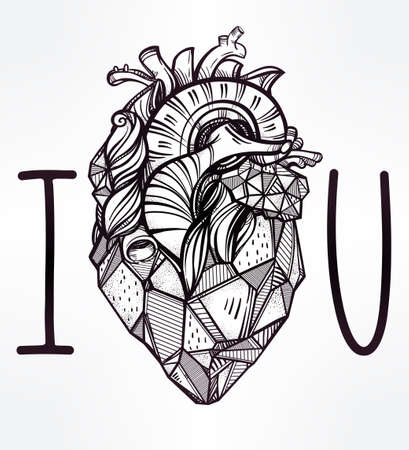 colouring: Sketched hand drawn line art ornate decorative human heart. Vintage style. Beautiful tattoo template. Isolated vector illustration. Tattoo artist design element. T-shirt print. I Love You. Illustration