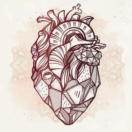 tatouage: C?ur de pierre, tr�s d�taill� main de style vintage tir� art en ligne. Belle mod�le de tatouage. Isolated illustration vectorielle, �l�ment sur fond fleuri.