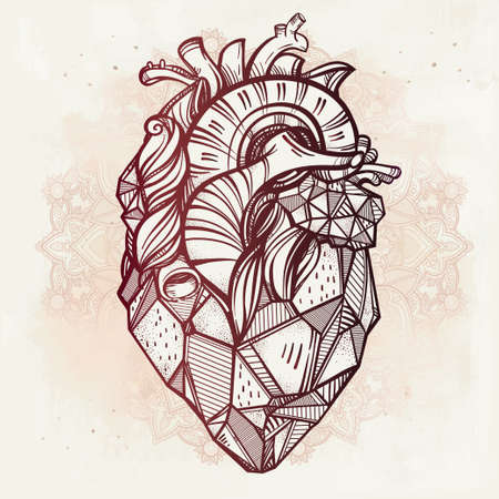 heart tattoo: Heart of stone, highly detailed vintage style hand drawn line art. Beautiful tattoo template. Isolated vector illustration, element on ornate background.