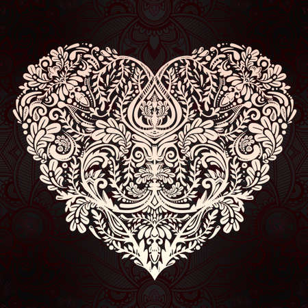 valentines: Ornate hand drawn paisley lace heart. Isolated vector illustration. Baroque print for wedding invitations, greeting cards, Valentines day print, tattoos, Mothers day, logo, X- mas and textiles. Illustration